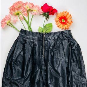 vegan leather black bubble mini skirt